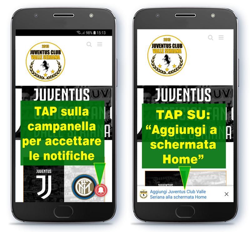 Progressive Web App e Notifiche Juventus Club Valle Seriana