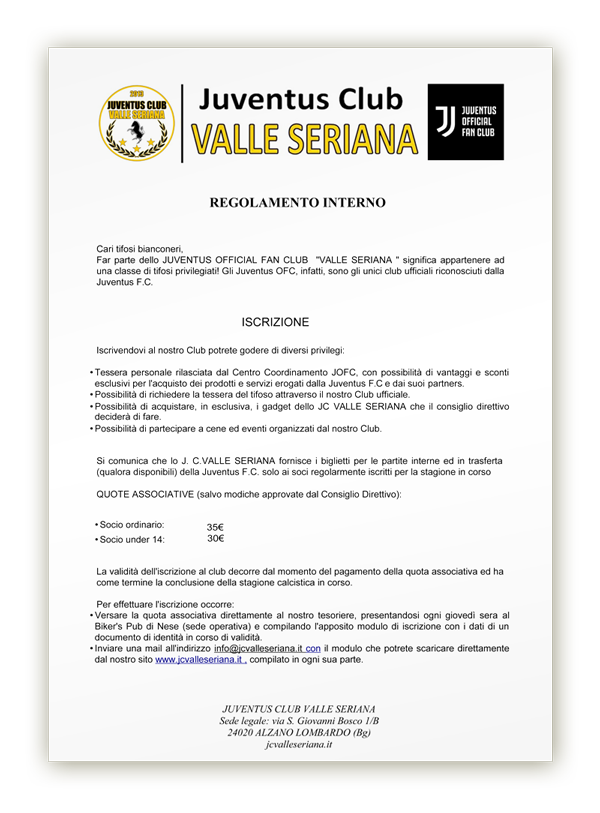 Juventus Club Valle Seriana regolamento interno 2019-2020