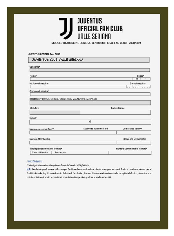 Juventus Club Valle Seriana Modulo di iscrizione 2019-2020
