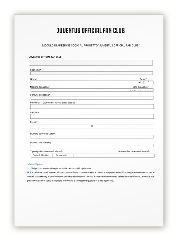 Juventus Club Valle Seriana - Modulo di iscrizione 2019-2020